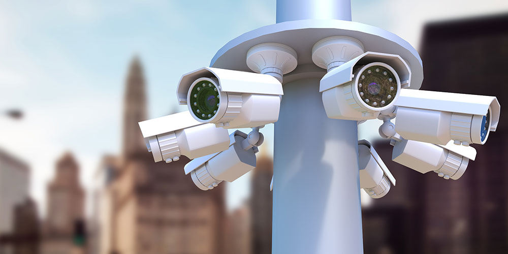 Several CCTV Cameras mounted on a pole